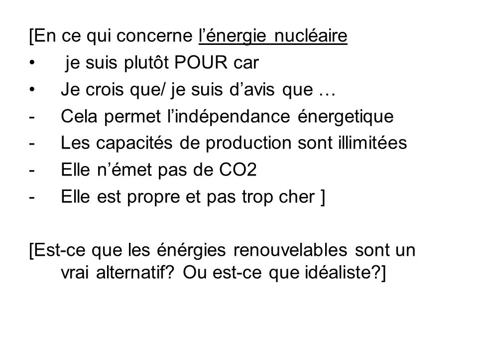 [En ce qui concerne l'énergie nucléaire